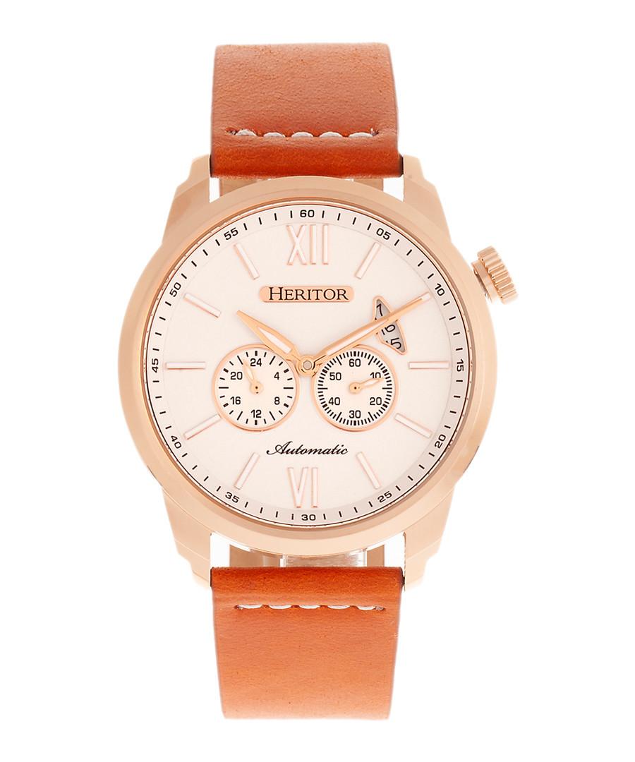 Wellington tan leather & steel watch Sale - heritor automatic