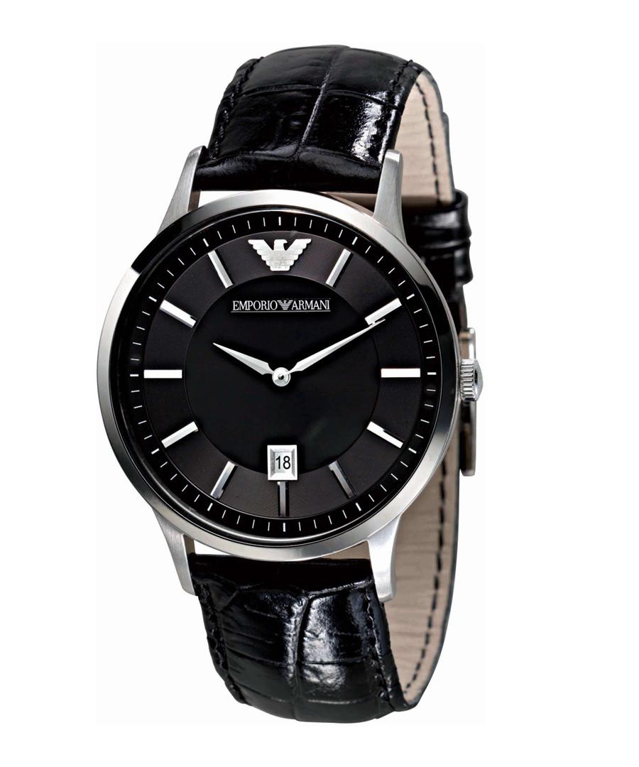 Black leather strap quartz watch Sale - Emporio Armani