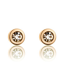 Gold-plated steel & crystal earrings