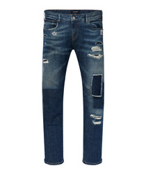 Tye dark wash cotton patched slim carrot jeans