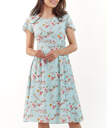 Sky floral print short sleeve dress
