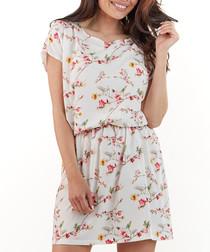 Ecru floral print ruched waist dress