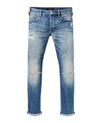 Ralston mid wash cotton repair slim jeans