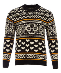 chunky pullover with fair isle intarsia patterns