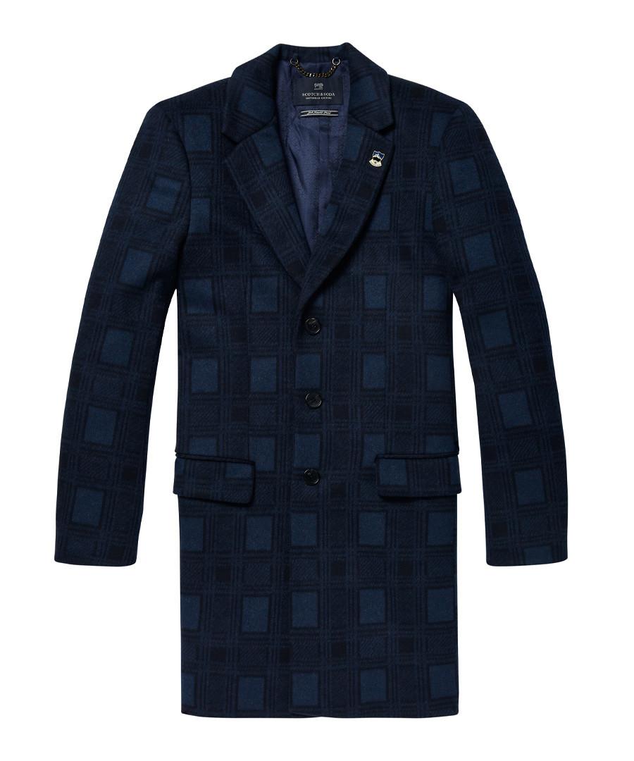 Blue check wool blend 3-button coat Sale - Scotch & Soda
