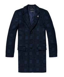 Blue check wool blend 3-button coat