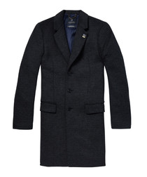 Midnight wool blend 3-button coat