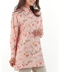 Pink floral print longline blouse