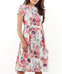 Floral print boat neck dress