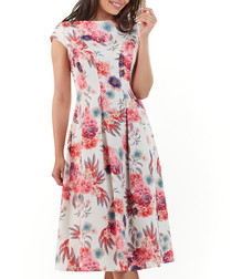 Fuchsia floral boat neck A-line dress