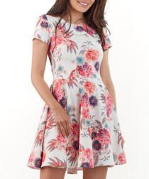 Fuchsia floral print fit & flare dress