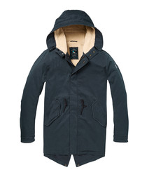 Navy cotton fleece-lined parka
