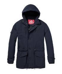 Navy nylon blend padded coat