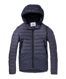 Navy nylon blend padded jacket
