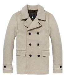 Beige wool blend double-breast coat