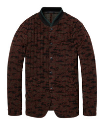 Dark camo wool blend blazer