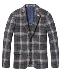Grey check pure cotton blazer