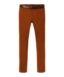 Stuart rust cotton slim chinos
