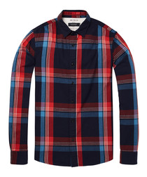 Blue & red check pure cotton shirt