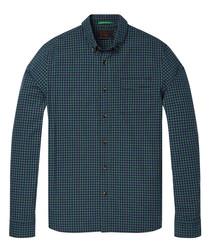 Teal check pure cotton shirt