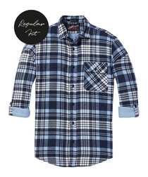 Blue check pure cotton shirt