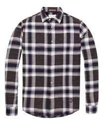 Brown check pure cotton neppy shirt