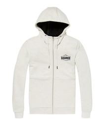Chalk cotton blend zip hoodie