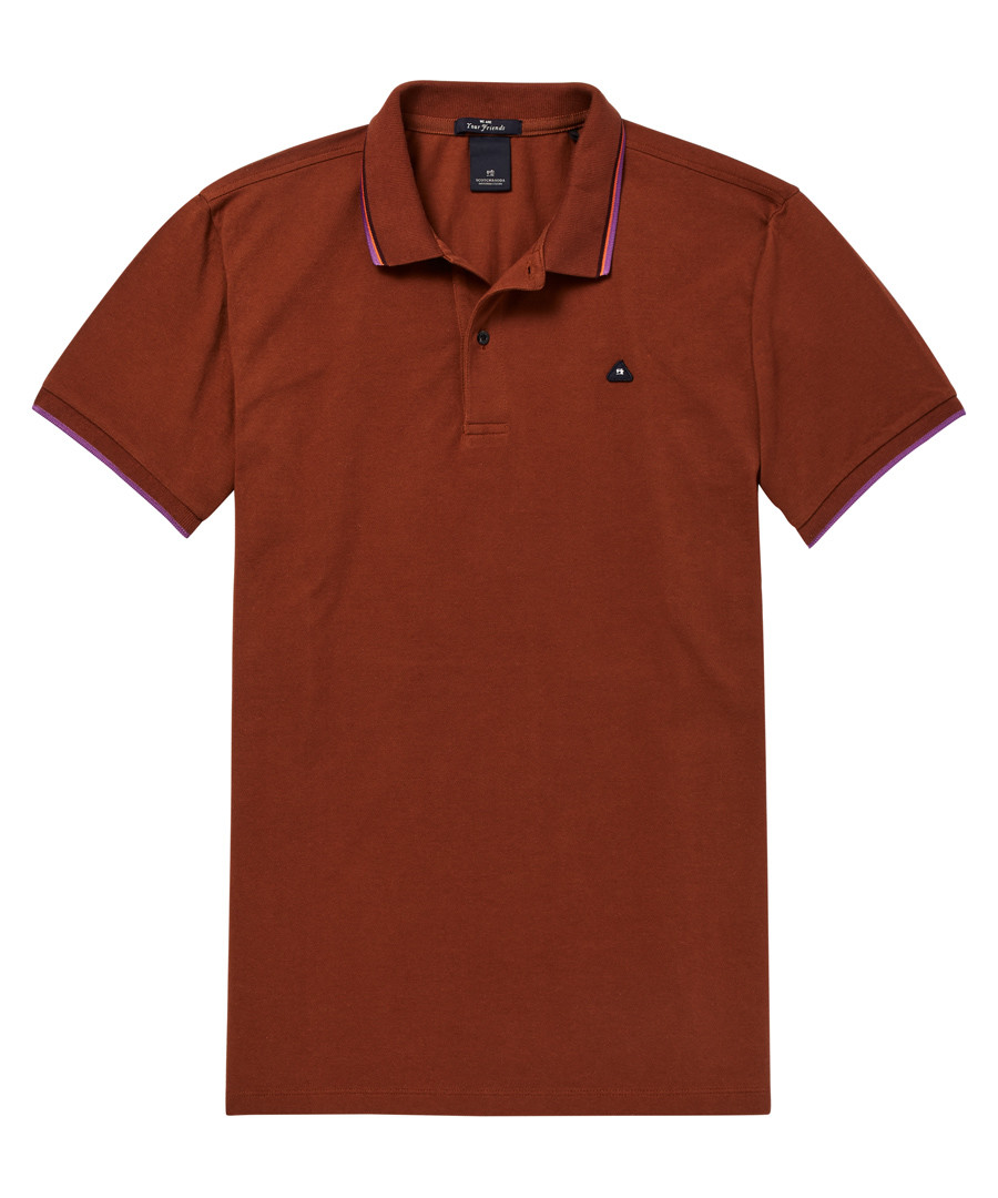 Rust pure cotton polo shirt Sale - scotch & soda