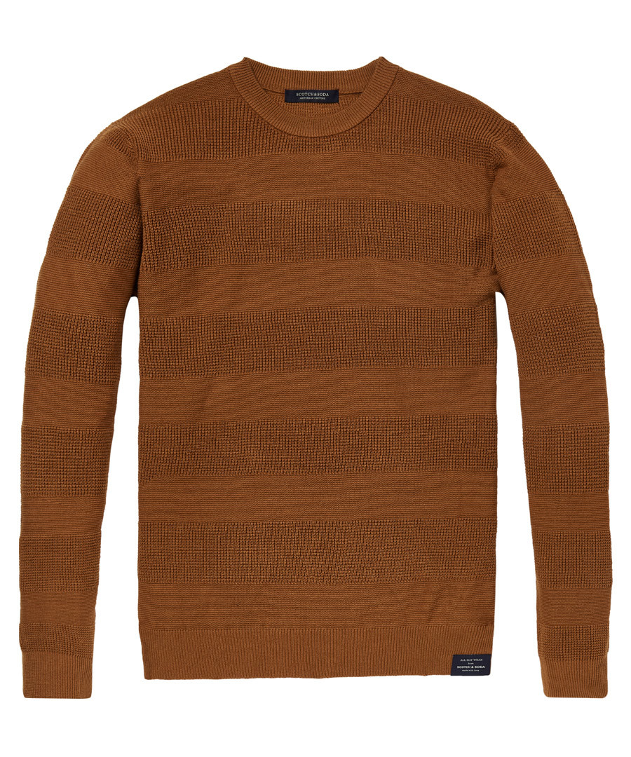 Brown stripe pure cotton crew jumper Sale - scotch & soda