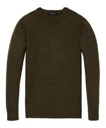Brown melange wool blend jumper