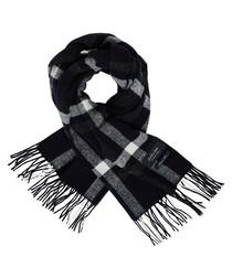 Black check silk & wool blend scarf