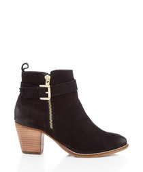 Black suede heeled ankle boots