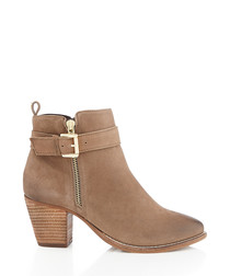 Taupe suede heeled ankle boots