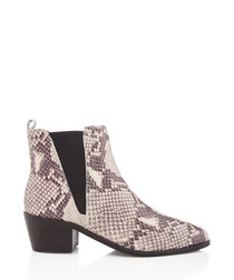 Snake-effect heeled ankle boots