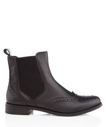 Black leather wingtip Chelsea boots