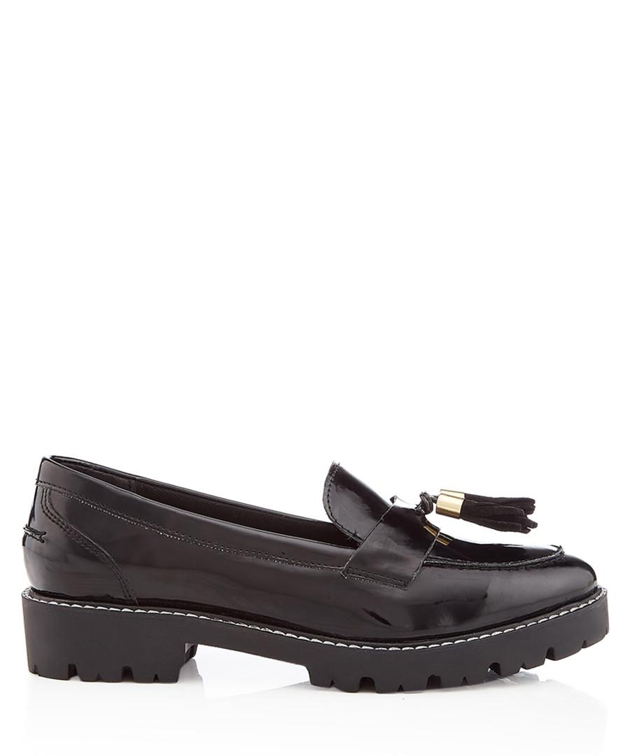 Black leather tassel loafers Sale - dune