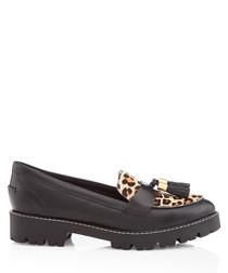 Black leopard print tassel loafers