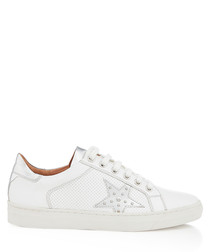 White & silver-tone star sneakers