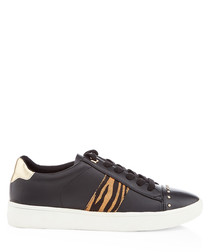 Black tiger print sneakers