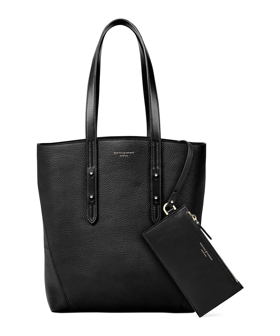 Essential A black pebble leather tote Sale - Aspinal of London