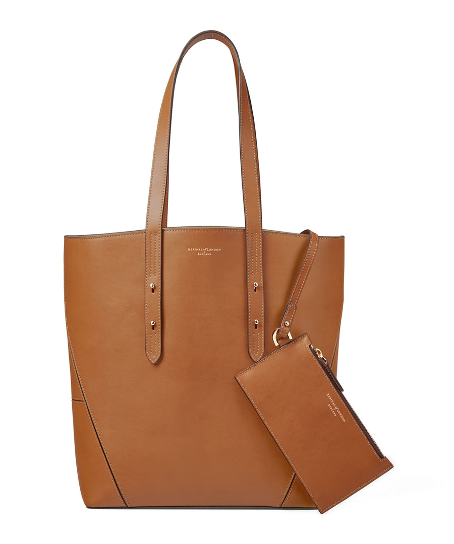 Essential A tan pebble leather tote Sale - Aspinal of London