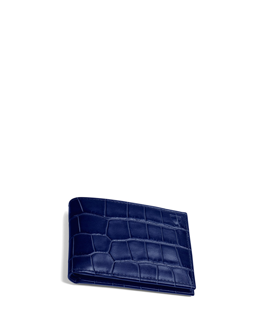 Navy leather moc-croc billfold wallet Sale - Aspinal Of London