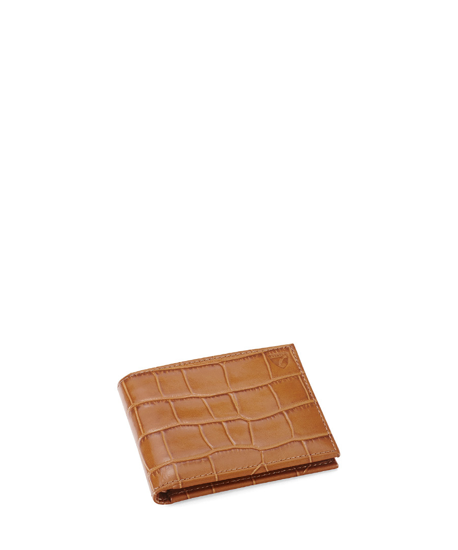 Tan leather moc-croc billfold wallet Sale - Aspinal Of London