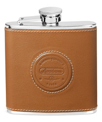 Aerodrome tan leather & steel hip flask
