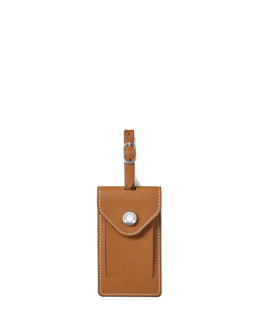 Aerodrome tan leather luggage tag Sale - Aspinal of London