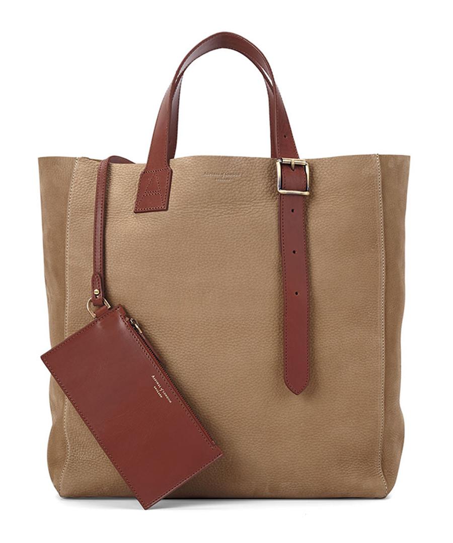 Editors A tan nubuck leather tote Sale - Aspinal of London