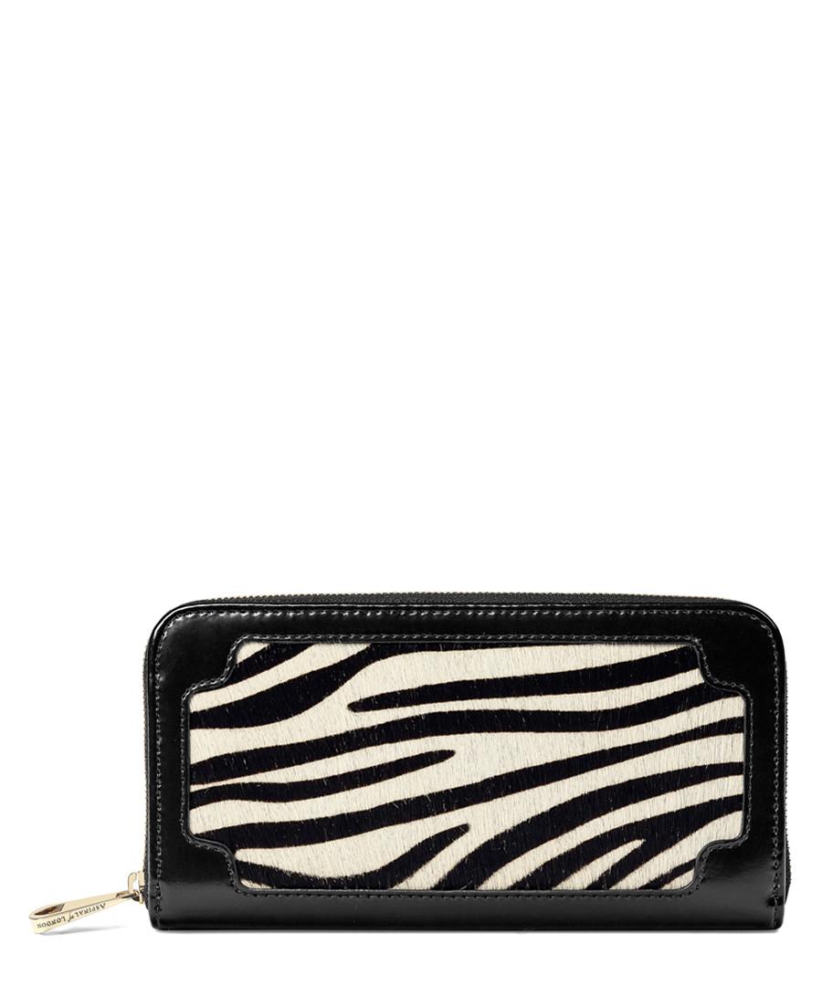 Marylebone zebra & leather zip purse Sale - Aspinal of London