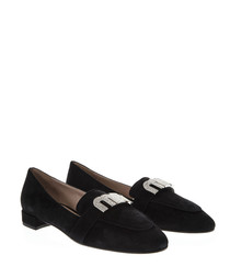 Black suede logo loafers