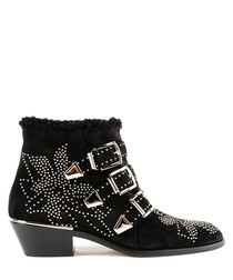 Black studded shearling buckle boots