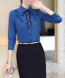 Blue ruffle long sleeve shirt